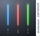 Set of three realistic light swords isolated on transparent background. Vector illustration.