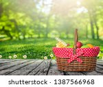 wooden picnic table with ... | Shutterstock . vector #1387566968