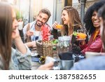 meeting of schoolmates having... | Shutterstock . vector #1387582655