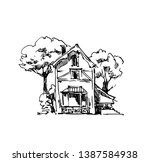vector sketch of houses and... | Shutterstock .eps vector #1387584938