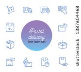postal delivery line icon set.... | Shutterstock .eps vector #1387604468