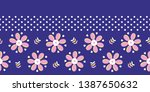 retro bold floral daisies... | Shutterstock .eps vector #1387650632
