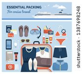 essential packing for cruise... | Shutterstock .eps vector #1387698248