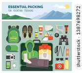 essential packing for mountain... | Shutterstock .eps vector #1387698272