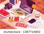 Work Desk In Office Vector...
