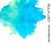 blue yellow watercolor stain... | Shutterstock . vector #1387747538