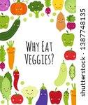 cute eat veggies frame... | Shutterstock .eps vector #1387748135