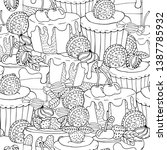 seamless pattern with cake ... | Shutterstock .eps vector #1387785932