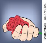 rose in the palm of your hand.... | Shutterstock .eps vector #1387793528