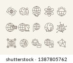 continents line icon set. globe ... | Shutterstock .eps vector #1387805762