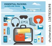 essential packing for airplane... | Shutterstock .eps vector #1387833698