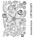 sea doodle coloring book page... | Shutterstock .eps vector #1387861805