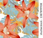 exotic flowers. seamless...   Shutterstock .eps vector #1387899938