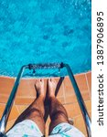 relaxing at the swimming pool....   Shutterstock . vector #1387906895