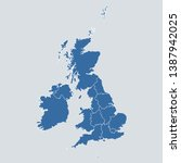 uk map on gray background...