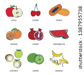 set of fruit on white...   Shutterstock . vector #1387955738