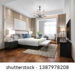 Stock photo  d rendering luxury modern bedroom suite in hotel 1387978208