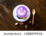 Taro Latte Art With Coffee Bean ...