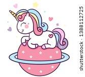 Stock vector cute unicorn vector sit with star baby animal kawaii pony cartoon baby shower girl and boy 1388112725