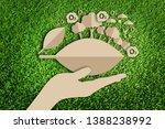 oxygen. saving tree. paper art... | Shutterstock . vector #1388238992