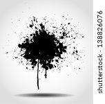 Grunge background with a big splash. Vector illustration. - stock vector
