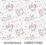 cute cat seamless pattern in... | Shutterstock .eps vector #1388271968