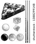 billiard ball  cue  chalk... | Shutterstock .eps vector #1388299148