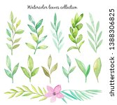 watercolor hand draw leaves...   Shutterstock . vector #1388306825