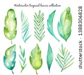 watercolor tropical leaves...   Shutterstock . vector #1388306828