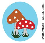 portrait of two mushrooms with... | Shutterstock .eps vector #1388378888