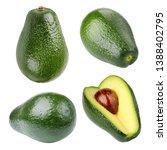 green avocado isolated on white ... | Shutterstock . vector #1388402795