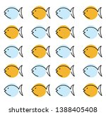 a pattern of blue and orange... | Shutterstock .eps vector #1388405408
