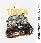 tough slogan with cartoon 4x4... | Shutterstock .eps vector #1388437778