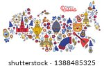 russian colored icons thin line ... | Shutterstock .eps vector #1388485325