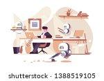 robots working in office vector ... | Shutterstock .eps vector #1388519105