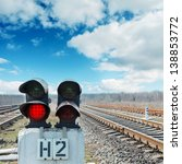 two semaphores on railroad - stock photo