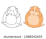 Vector art of cute little fat guinea pig on white background. Colorful illustration of small domestic cavy good for coloring pages in children book. Animal sketch drawn by freehand.