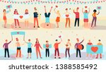 young happy people holding... | Shutterstock .eps vector #1388585492
