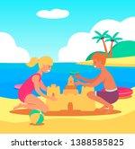 caucasian children boy and girl ... | Shutterstock .eps vector #1388585825