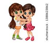 two lovely happy best friends... | Shutterstock .eps vector #1388623862