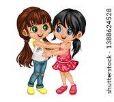 two lovely happy best friends... | Shutterstock .eps vector #1388624528