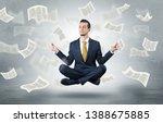 young businessman meditating... | Shutterstock . vector #1388675885