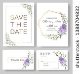 set of wedding invitation card... | Shutterstock .eps vector #1388704832