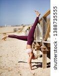 caucasian woman practicing yoga ...   Shutterstock . vector #1388735555