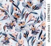 moody watercolor alstroemeria... | Shutterstock . vector #1388798615