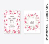 wedding invitation with rose...   Shutterstock .eps vector #1388817392