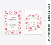 wedding invitation with rose...   Shutterstock .eps vector #1388817395