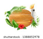 realistic tropical wooden board ... | Shutterstock .eps vector #1388852978