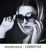 beautiful woman in big violet... | Shutterstock . vector #138885782
