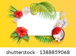 summer banner with realistic... | Shutterstock .eps vector #1388859068